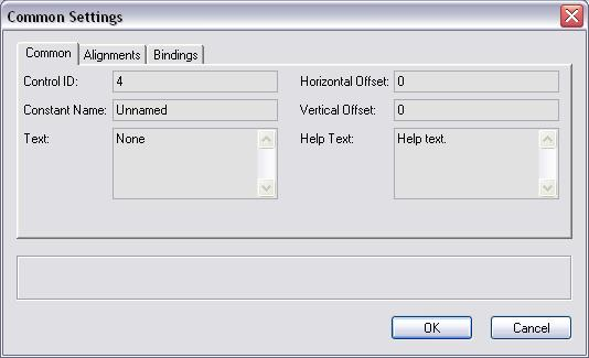 Dialog Builder Control Common Settings - pane 1