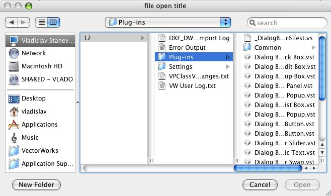File choose dialog for Mac