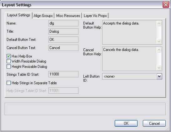 Dialog Layout Settings Dialog - pane 1